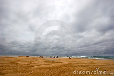 Stormy beach and women