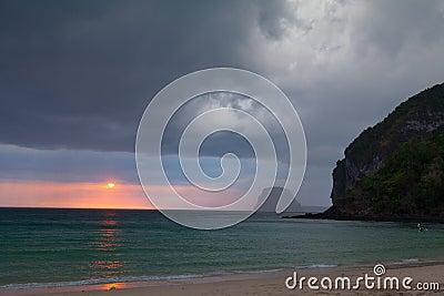 Stormy clouds over dark ocean
