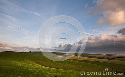 Stormy dramatic sky above countryside landscape