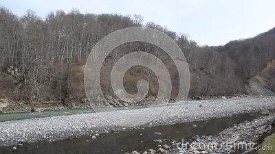A stormy river flowing among mountains overgrown with forest stock video footage