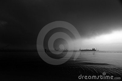 Stormy sea sky with ship