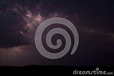 Stormy skies, lightning.