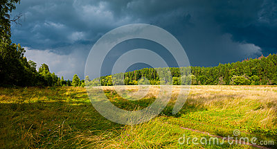 Stormy skies over the field