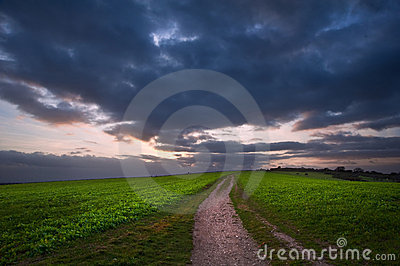 Stormy sky over countryside landscape