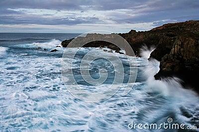 Stormy Waves, Rocky Cliffs