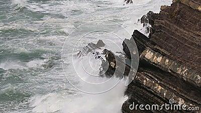 Stormy weather along Atlantic Ocean, Alentejo, Portugal stock video