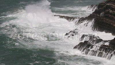 Stormy weather along Atlantic Ocean, Portugal stock video footage