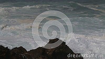 Stormy weather along Atlantic Ocean, Sines, Portugal stock video