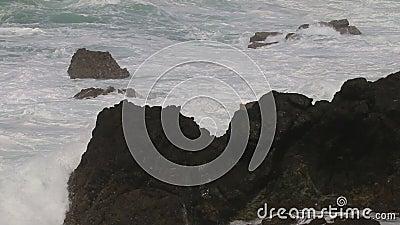 Stormy weather along Atlantic Ocean near Sines, Portugal stock video
