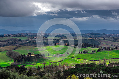 Stormy weather landscape with beautiful light