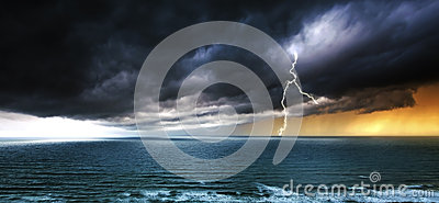 Stormy Weather Over Sea - Thunderstorm Panoramic