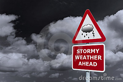 Stormy weather signpost