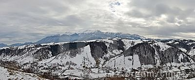 Stormy winter day over a mountain village