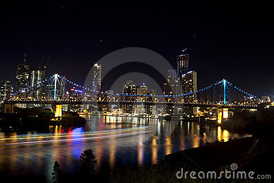 Story Bridge and Brisbane City with Boat lights Editorial Image
