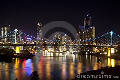 Story Bridge and Brisbane City center Editorial Stock Image