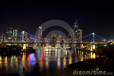 Story Bridge and Brisbane City with still water Editorial Image
