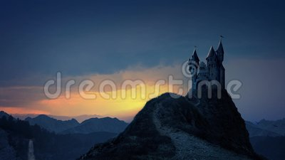 Storybook Castle At Sunrise. Hilltop castle at dawn in a beautiful fairy tale landscape. With REAL birds, flags, blowing grass and waterfall, making a beautiful