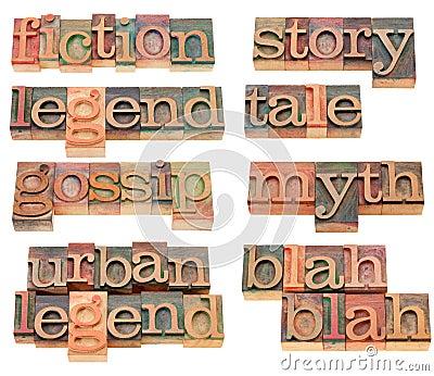 Storytelling words in letterpress type