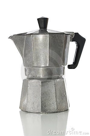 Stove top espresso maker with clipping path