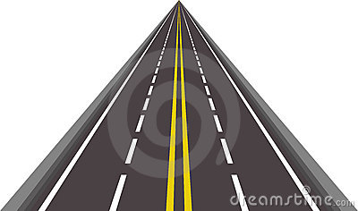 Straight asphalted road vector