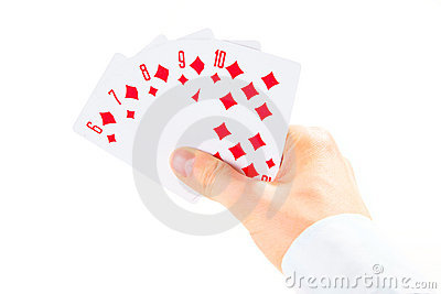 Straight flush combination taking by man s hand