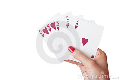 Straight Flush of hearts in hand