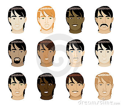 Straight Hair Men Faces