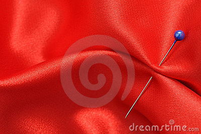 Straight Pin in Red Silk