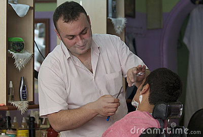 Straight Razor Shave Editorial Stock Image
