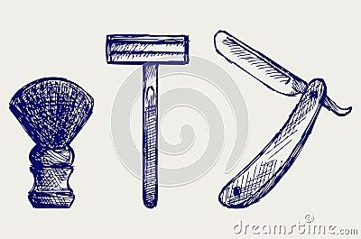 Straight razor and shaving brush