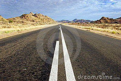 A straight road  ahead in Namibia in Africa.
