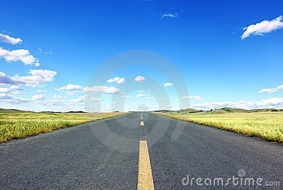 Straight Road in field