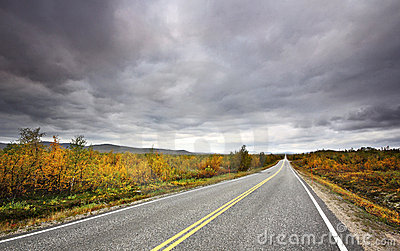 Straight road through Finland s countryside