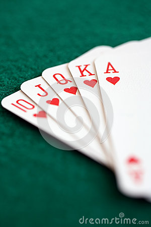 Straight royal flush playing cards