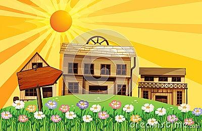 Stralen van de zon en de huizen in de buurt