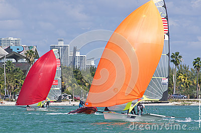 Strammer & Brown lead Funk & Aakhus at the 2013 ISAF World Saili Editorial Stock Photo