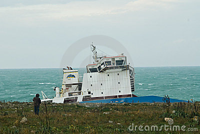 Stranded petrol ship in Sicily Editorial Photography