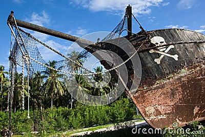 Stranded pirate ship