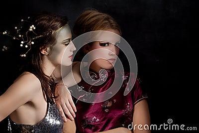 Strange couple of girls