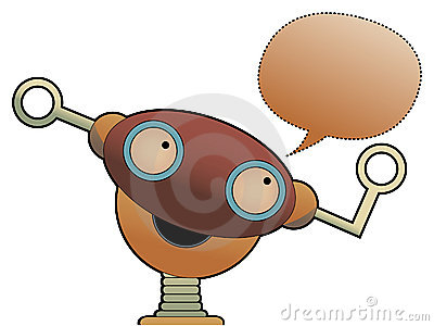 Strange cute robot head chat bubble Vector Illustration