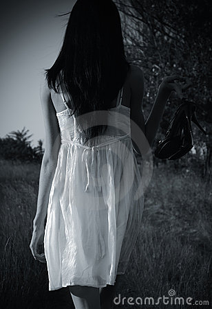 The strange mysterious girl in white dress