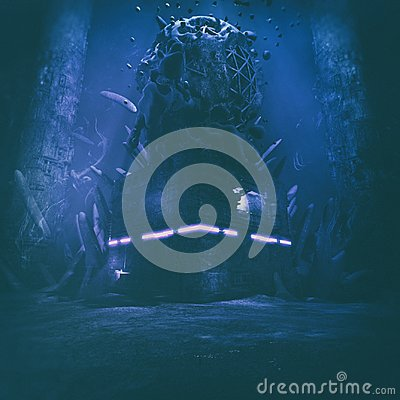 Free Strange Scary Mysterious Underwater Structure Illustration Royalty Free Stock Images - 118433219