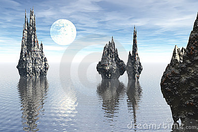 Strange seascape rock moon scene