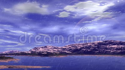 Stranger planet. Rocks and rain. Animation. 4К Stock Photo