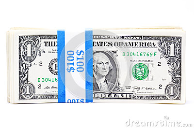 Strapped dollar bills