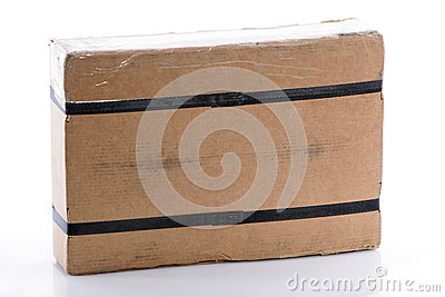 Strapped rectangular cardboard box