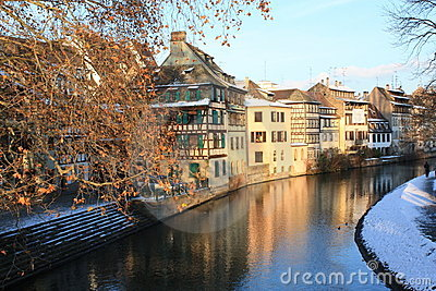 Strasbourg canal in winter