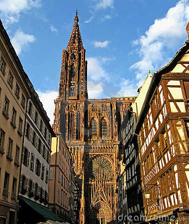Strasbourg Cathedral in evening sunlight