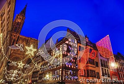 Strasbourg julhuvudstad Redaktionell Fotografering för Bildbyråer