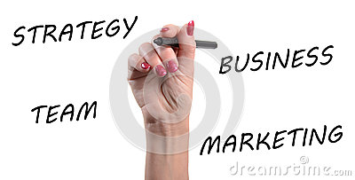 Strategy, business, team, marketing written with a black felt pe